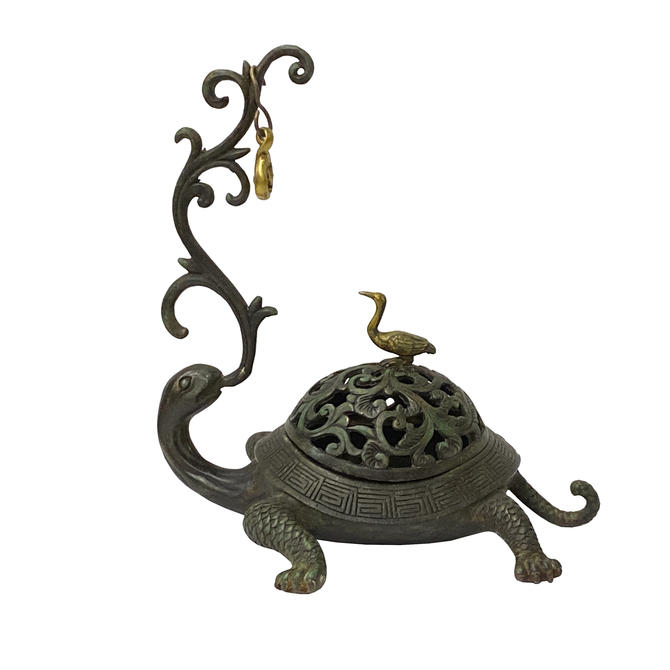 Chinese Brown Metal Turtle Fengshui Incense Holder Figure ws1413E by GoldenLotusAntiques