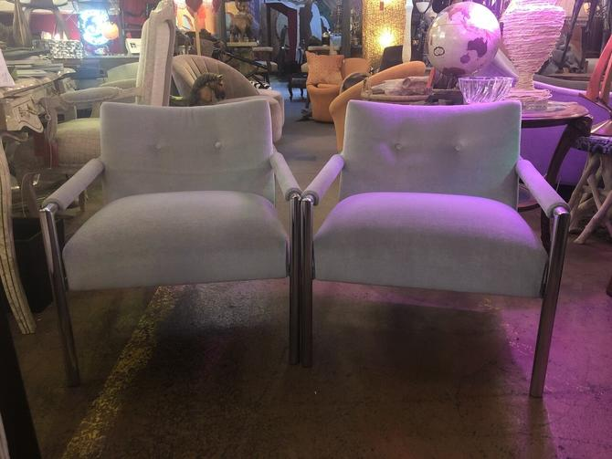 Mid Century Modern Harvey Probber Chrome Frame Lounge Chairs Newly Upholstered - Pair