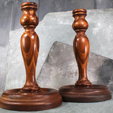 """Beautiful, Turned Wood Vintage Candlesticks - Set of 2 - 10"""" Tall, Large Size with Wide Base    FREE SHIPPING by Bixley"""