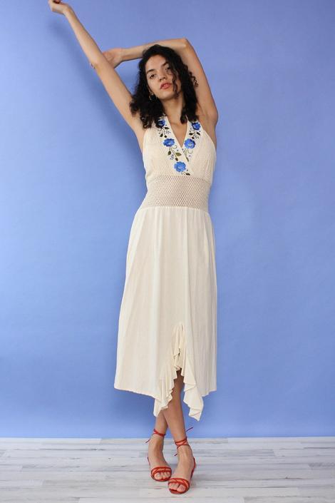 Cream Floral Embroidered Halter Dress M/L