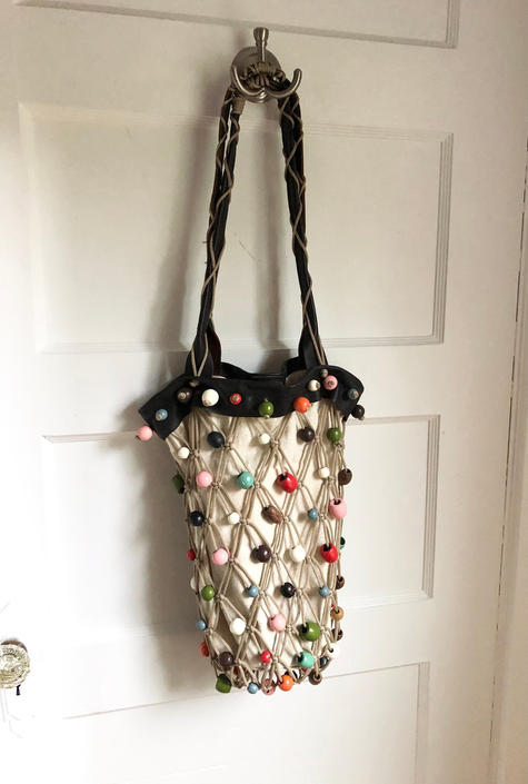 1970s Macramè Rainbow Beaded Bucket Bag with Leather straps by VeeVintageShop