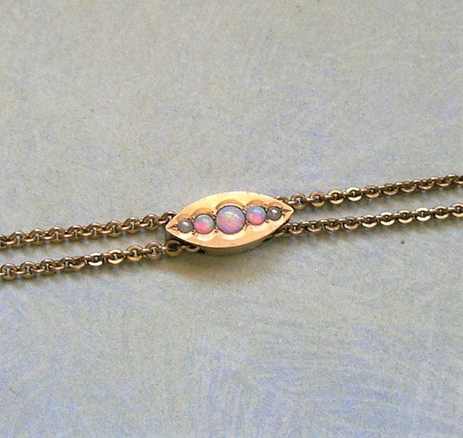 Antique Victorian 10K Slide With Opals & Seed Pearl, Gold Filled Victorian Watch Chain With 10K Gold Slide, Antique Chain (#3850) by keepsakejewels