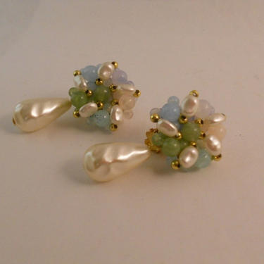 Faux Pearl Dangle Earrings in Soft Colors by estateoriginals