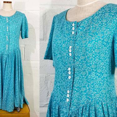 Vintage Turquoise Blue Sundress Floral Midi Dress Short Sleeve 1980s 80s Boho Drop Waist Summer Fit & Flare Cottagecore Medium Large by CheckEngineVintage