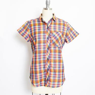 Vintage 1970s LEVI'S Ladies Shirt Rainbow Plaid  Blouse Western70s Medium by dejavintageboutique