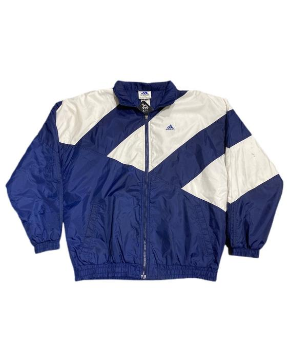 (M) 00s Adidas Blue/White Puffer Jacket 091521 LM