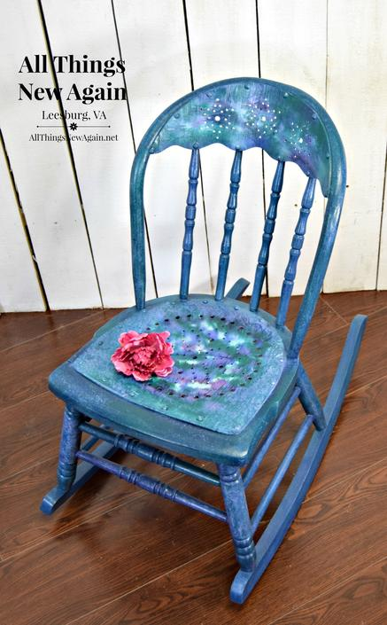 Small Blue Rocking Chair | Little Blue Rocking Chair | Little Blue Rocker | Blue Rocking Chair | Blue Chair by AllThingsNewAgainVA