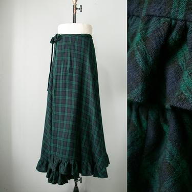 1970s Maxi Skirt Wool Plaid Tartan S/M by dejavintageboutique