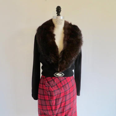 Vintage 1950's Black Cashmere Sweater Cardigan Brown Mink Fur Collar Pin Up Rockabilly Swing Lace Lining Bernhard Altmann Medium by seekcollect