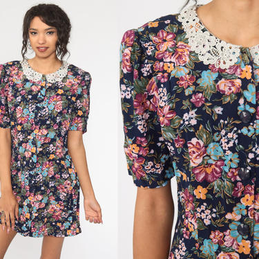 80s Floral Dress Granny Mini Dress Puff Sleeve LACE COLLAR Dress 90s Grunge Dress Boho Vintage Shift Button Up Medium by ShopExile