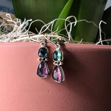 Handmade Solid 14k Yellow and White Gold Pink and Green Tourmaline Totem Dangle Earrings with Leverbacks by RachelPfefferDesigns