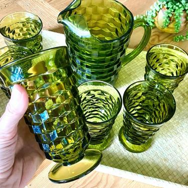 COMPLETE SET/Vintage Fostoria Whitehall glassware/ Avocado Green/ Six tumblers with pitcher by SeaweedSalvage