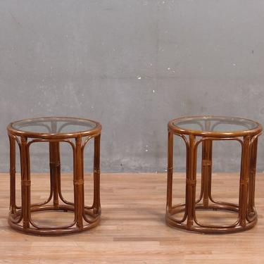 Pair of Rattan & Glass Drum Side Tables