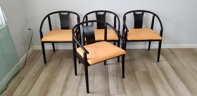 Mid-Century Black  Ebonized Dining Chairs  Set  Of -3 . by MIAMIVINTAGEDECOR