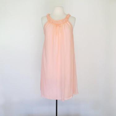 1960s pink sheer babydoll slip or nightgown by flutterandecho