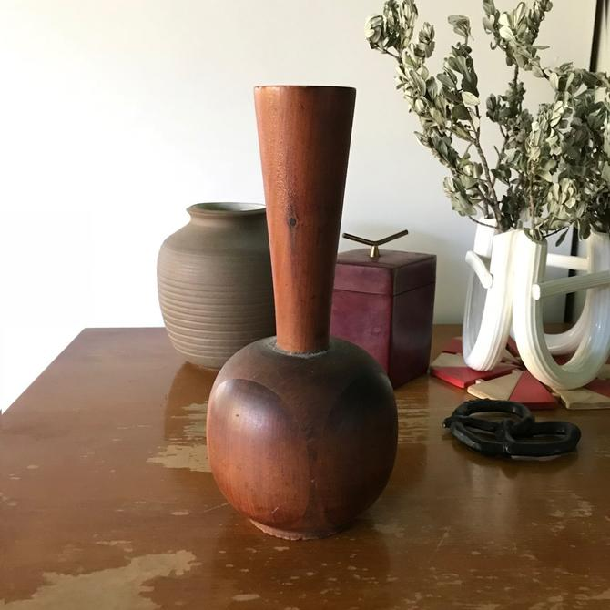 1982 Filipo Turned Staved Wooden Bud Vase Vintage Mid-Century American Studio Craft by BrainWashington