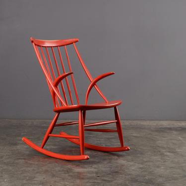 Vintage Red Rocking Chair Illum Wikkelsø IW3 Mid Century Danish Rocker by MadsenModern