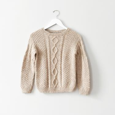 vintage handknit beige cable knit sweater, size XS / S by ImprovGoods