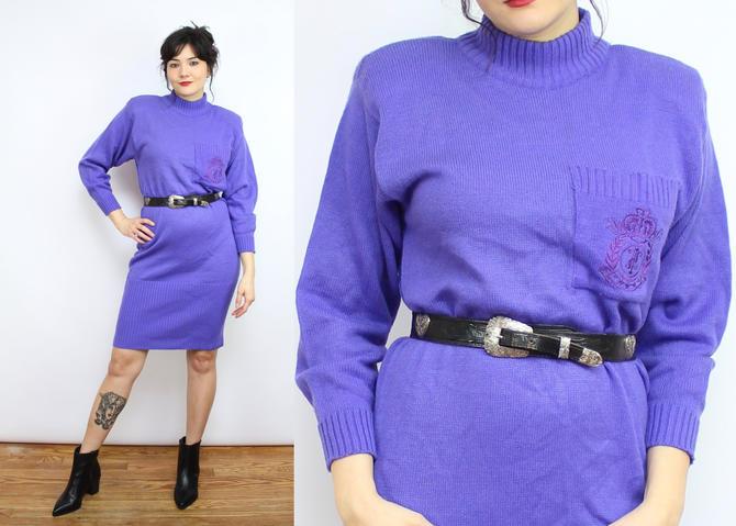 Vintage 80's Purple Acrylic Knit Sweater Dress / 1980's Mock Neck Dress / Winter / Women's Size Small - Medium by RubyThreadsVintage