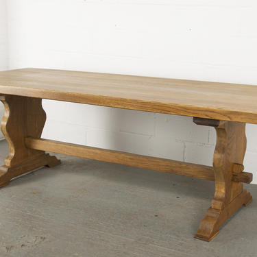 Antique Country French Provincial Oak Farmhouse Trestle Dining Table by StandOutSpaces