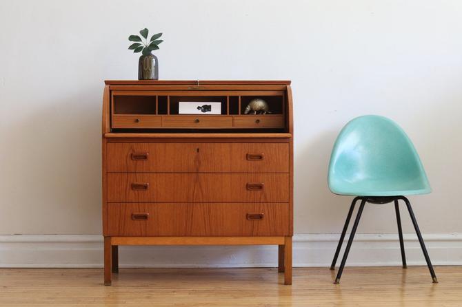 Mid Century Danish Modern Teak Roll Top Secretary Desk by SharkGravy