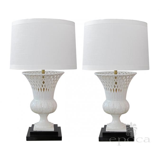 an elegant pair of italian white-glazed basket-weave urn-form porcelain lamps