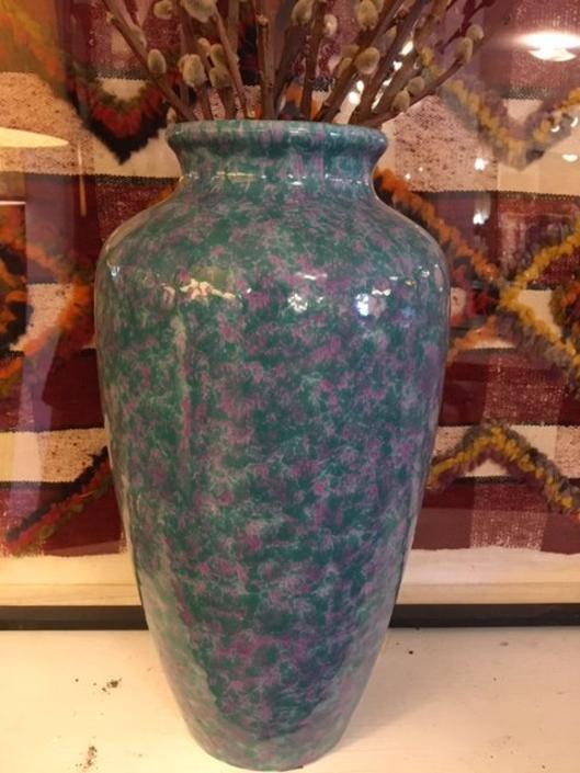 Tall Mottled Teak and Pink Pottery Vase