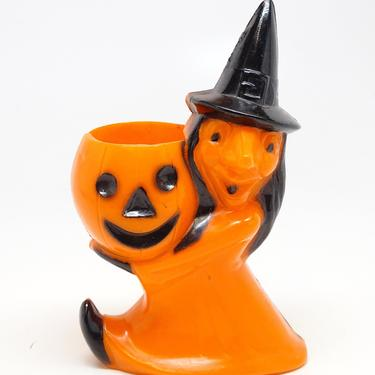 Vintage 1950's Halloween Candy Container, Rosbro Witch Holding a Jack-o-lantern, Antique Retro Decor by exploremag