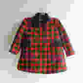 Vintage Children's Christmas Coat Size 3T / 4T, Wool Red and Green Plaid Kids Coat with Velvet Trim, Mid Century Christmas Coat for Kids by LittleDogVintage