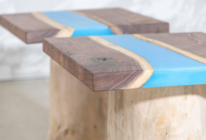 Blue Water Epoxy Resin End Tables by KirkpatrickDesigns