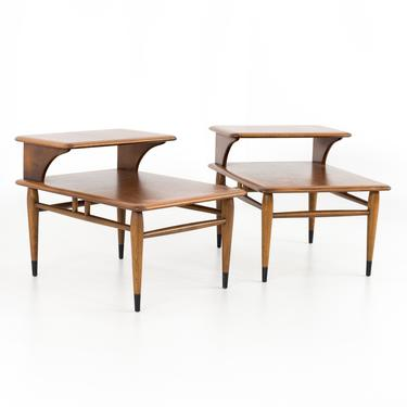 Lane Acclaim Mid Century Walnut Step Side End Tables - Matching Pair - mcm by ModernHill
