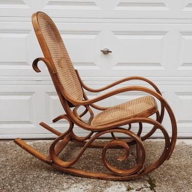 Bentwood Rocker, Bentwood Rocking Chair, Cane Rocker, Cane Chair,  Bentwood Thonet Style Rocker, Cane Seat by VintageandSwoon