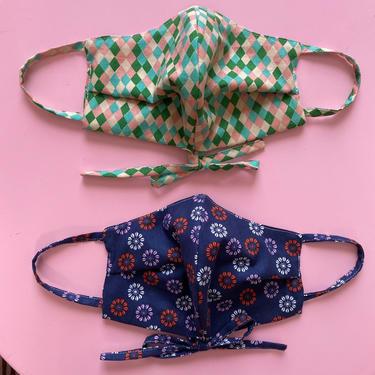 ModMaud Adjustable Bow Face Masks, 100% cotton double layer, covid-19 covering by ModMaudVintage