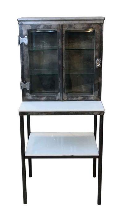 Medical Steel Cabinet with White Vitrolite Shelves & Beveled Glass