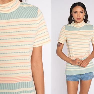 Turtleneck Shirt Striped Retro 60s Mod Top Short Sleeve Shirt Tee 70s Top High Neck Retro Cream Green Pink 1970s Polyester Medium by ShopExile