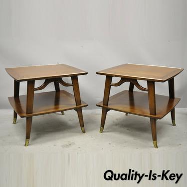 Mid Century Modern Brass Feet Sculpted Walnut 2 Tier Side End Tables - a Pair