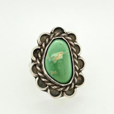 Vintage Navajo Green Turquoise Sterling Silver Ring Braid Scalloped Sz 6.5 by HouseofVintageOnline