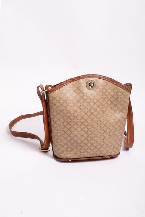 Vintage CÉLINE Macadam Medium Bucket Bag Coated Canvas and Leather Turnlock Crossbody PVC Monogram Logo Ring Bag Beige Brown by backroomclothing