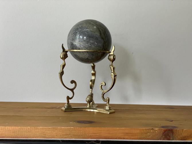 Vintage Extra Large Marble Sphere with Brass Stand, Mermaid Stand Marble Ball on Stand by Northforkvintageshop