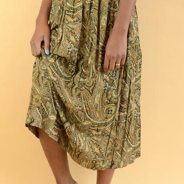 Vintage Paisley Earth Tone High Waist A-Line Skirt by MAWSUPPLY