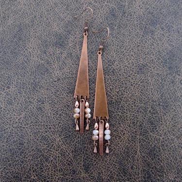 Copper chandelier earrings, boho geometric dangle earrings, gypsy earrings, unique earrings, bohemian, rustic earrings, peach crystal by Afrocasian