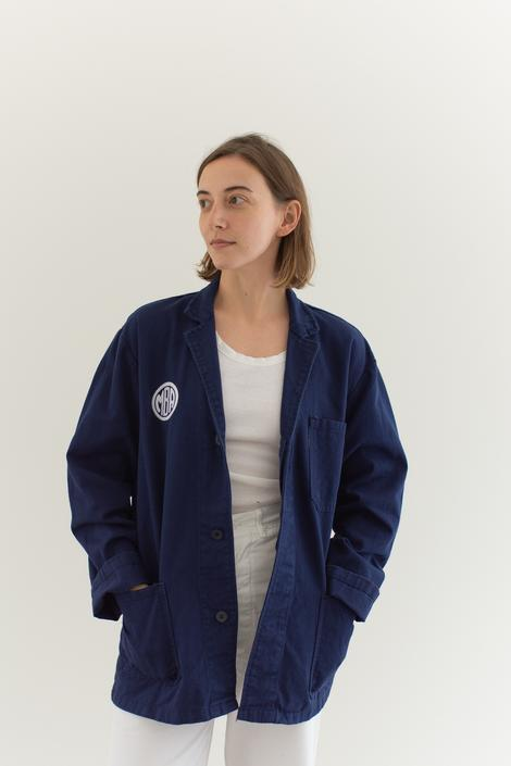 Vintage Navy Blue Chore Coat | Unisex Dark Blue Cotton Military Utility Work Jacket | M | IT057 by RAWSONSTUDIO