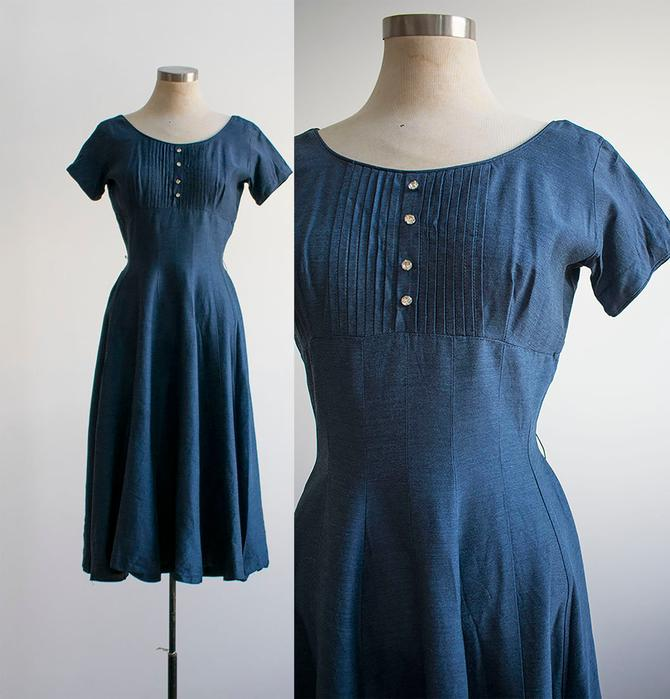 1950s Cocktail Dress / Blue Cocktail Dress / XS Vintage Cocktail Dress / Blue Cocktail Dress / Atomic Dress / Pin Up 1950s Dress / 1950s by milkandice