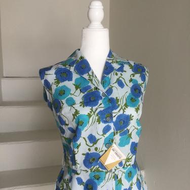 1960s Floral Romper NOS Unworn Tags On Cotton Floral Vintage 42 Bust by AmalgamatedShop