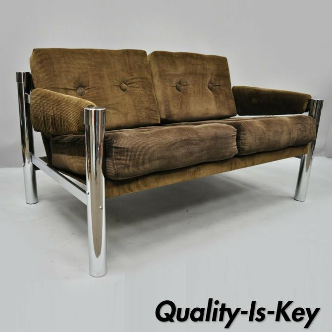 Wondrous Mid Century Modern Chrome And Brown Corduroy Loveseat Sofa Creativecarmelina Interior Chair Design Creativecarmelinacom