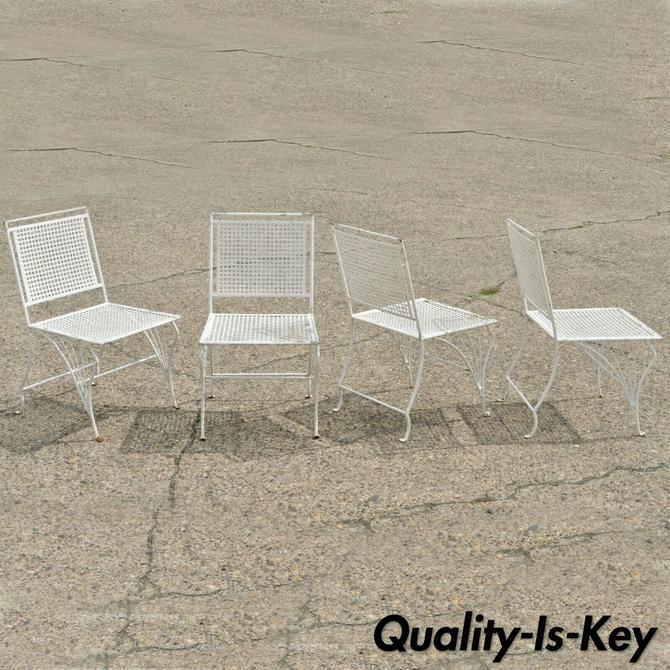 Set of 4 Wrought Iron Art Nouveau French Style Garden Patio Dining Chairs
