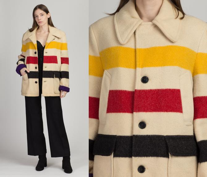 Vintage Woolrich Hudson Bay Striped Coat - Size 38 | 70s Wool Button Up Winter Point Blanket Overcoat by FlyingAppleVintage