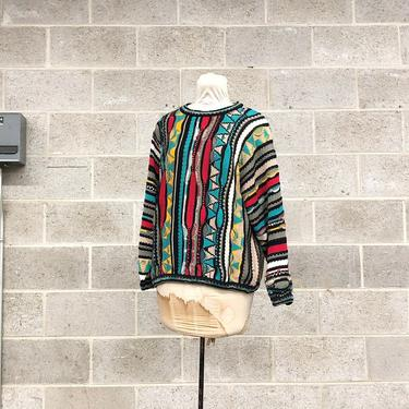 Vintage Coogi Sweater Retro Unisex Size M Teal + Black + Red + Yellow Gray Knit Long Sleeve Crew Neck Pullover Australia Fall Winter Fashion by RetrospectVintage215