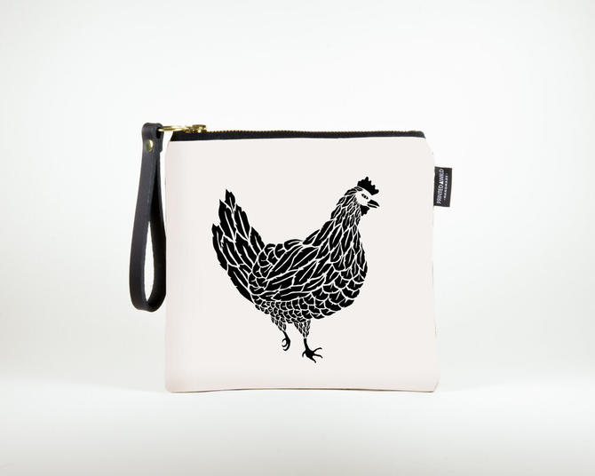 "Square Clutch ""Chicken & Rooster"""