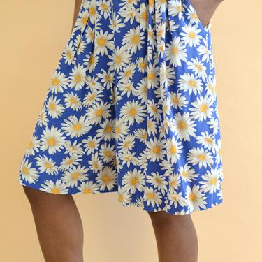 Vintage Silk Blue Floral Print High Rise Baggy Relaxed Shorts by MAWSUPPLY